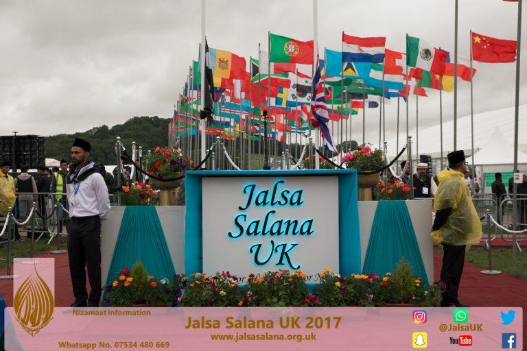 Some Volunteers with Ameer Sahib and Nasser Khan Sahib – Jalsa Salana UK 2017